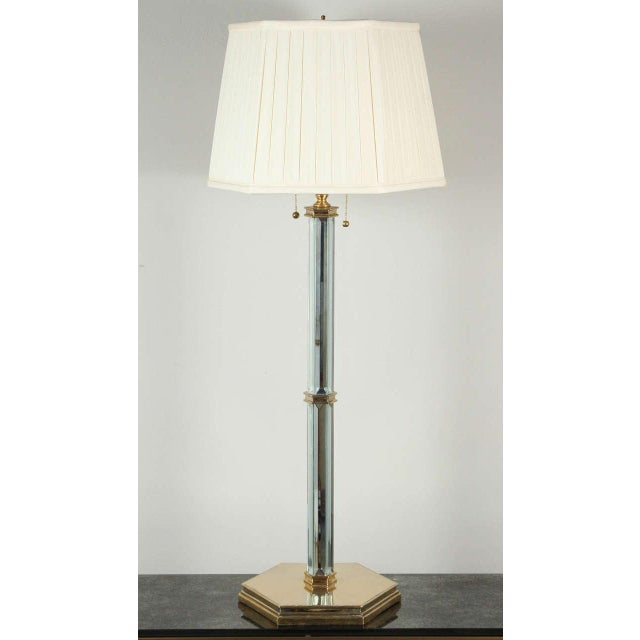 Brass and Beveled Mirror Table Lamp - Image 2 of 9