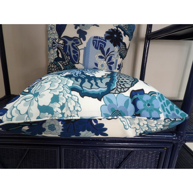Blues & White Custom Made Pillows With Dragon Design - A Pair For Sale - Image 4 of 7
