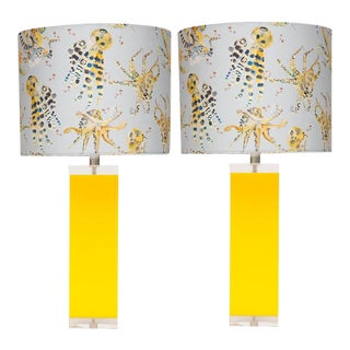 Yellow Lucite Acrylic Table Lamps