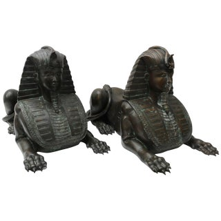 Circa 1850 French Empire Bronze Sphinx Sculptures - a Pair For Sale