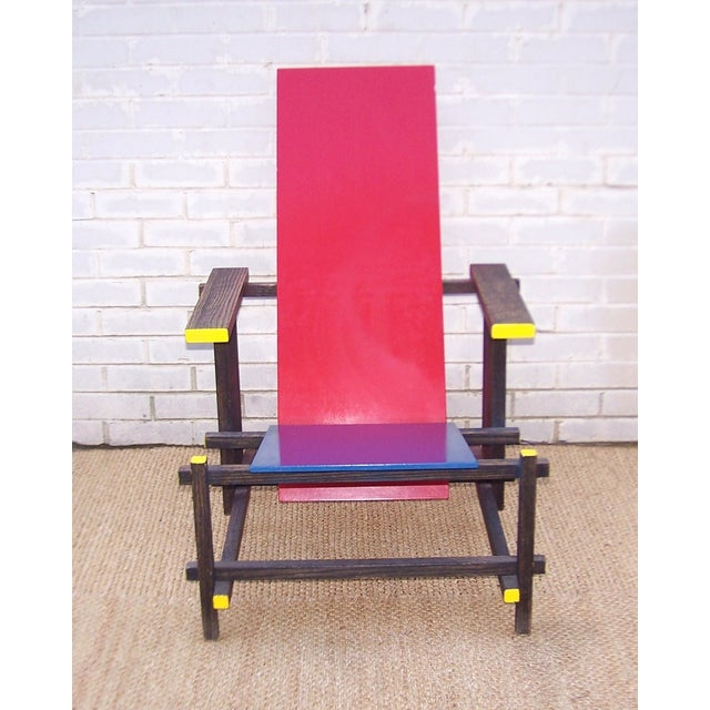 Gerrit Rietveld Style Red & Blue Chair - Image 8 of 11
