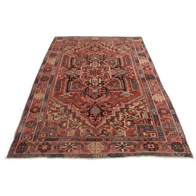 Hand Knotted Wool Persian Habriz Rug. Geometric Design.