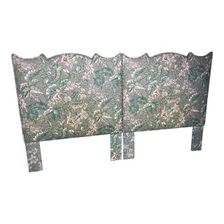 Palm Beach Regency Monkey and Palm Leaf Twin Headboards-Pair For Sale