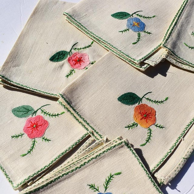 Mid 20th Century Cream Hand Embroidered Floral Cloth Dinner Napkins in Blue Green Pink Orange - Set of 6 For Sale - Image 5 of 7