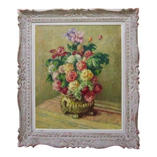 1920s Vintage Mischa Askenazy Still Life Roses Floral Oil Painting Cezanne Style For Sale