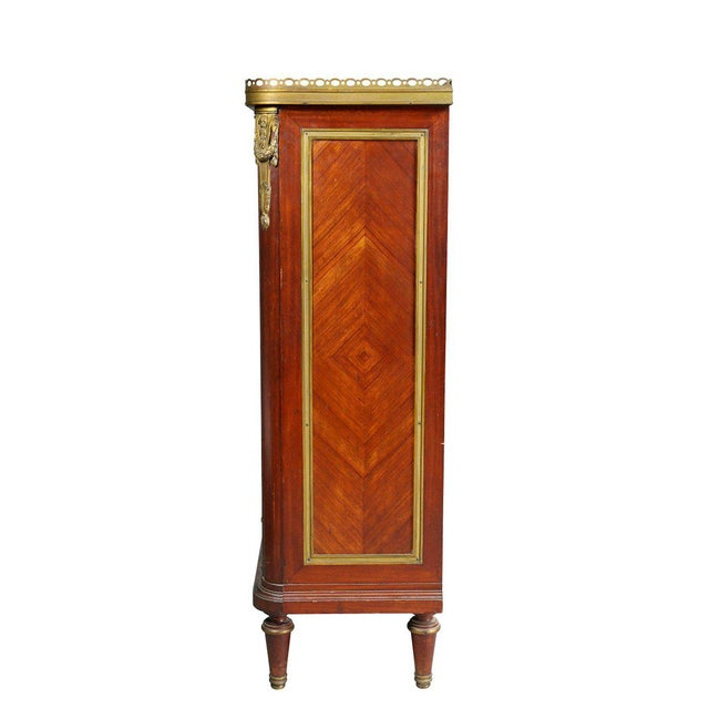 Brown Louis XVI Style Tulipwood and Ormolu-Mounted Petit Cabinet For Sale - Image 8 of 10