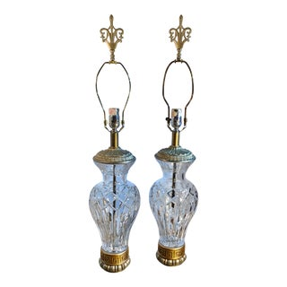 Pair of Large Urn Lamps With Gold and Silver Accents Vintage Cut Crystal Mid Century For Sale