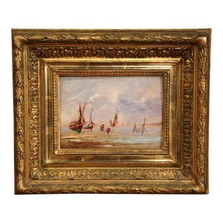 19th Century French Brittany Beach Oil on Board Painting in Carved Gilt Frame For Sale