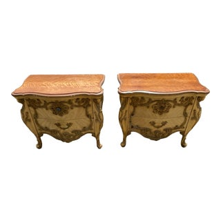 Late 20th Century Pair of Wooden Bombe Commodes With Elaborate Detailing For Sale
