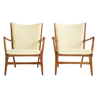 Pair of Hans Wegner Lounge Chairs For Sale