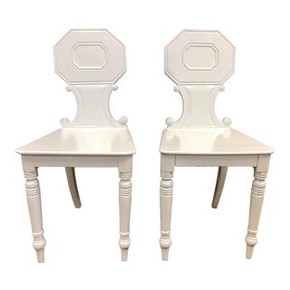 Pair of 19th Century English White Lacquered Hall Chairs For Sale