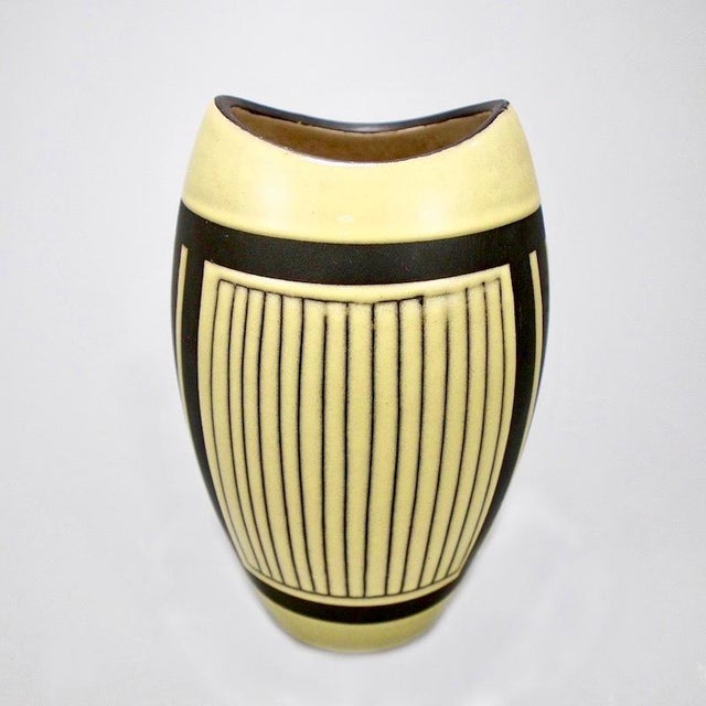 Mid-Century European Yellow & Brown Ceramic Vase For Sale In Detroit - Image 6 of 7