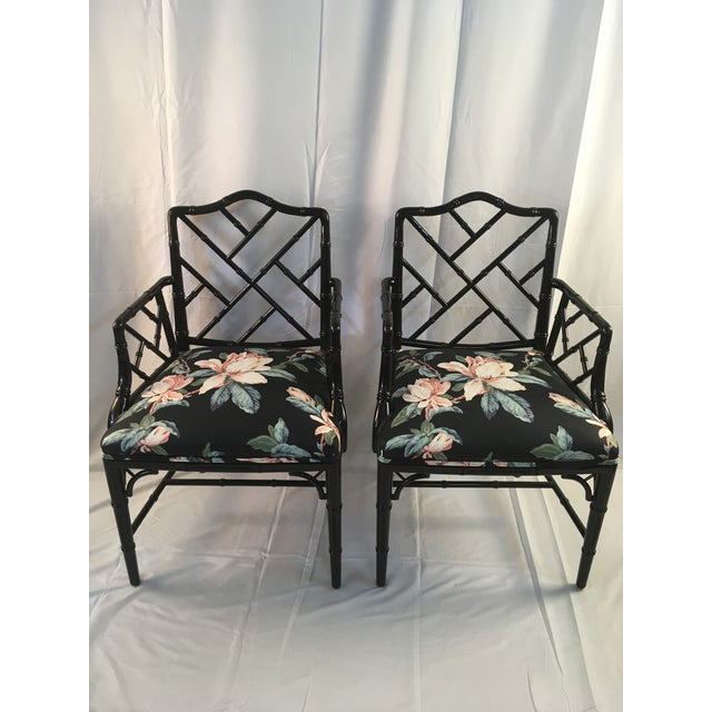 1980s Chinese Chippendale Black Lacquer Arm Chairs - a Pair For Sale - Image 11 of 11