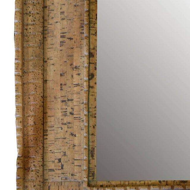 Italian Mid-Century Cork Frame with Mirror - Image 4 of 4