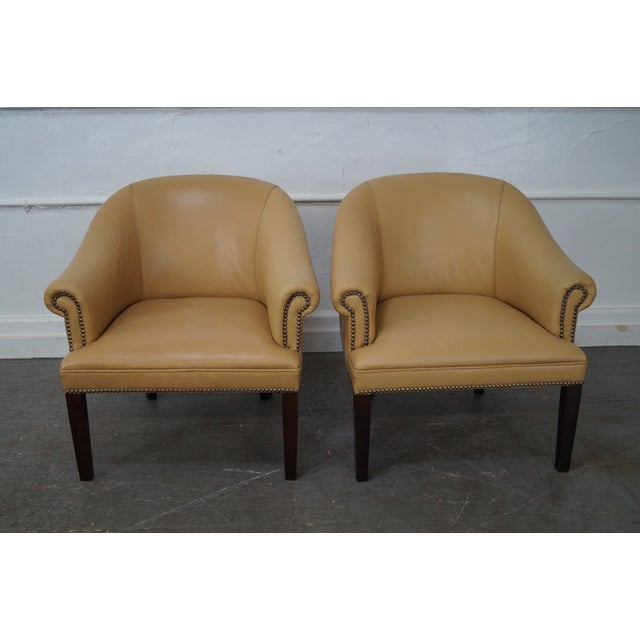 Quality Leather Barrel Back Arm Chairs - Pair - Image 3 of 10