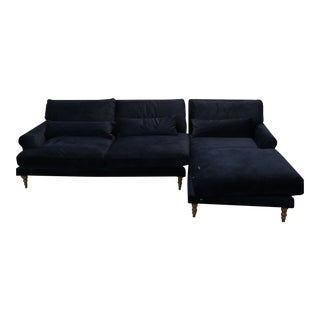 Interior Define Maxwell Velvet Sofa With R Chaise For Sale