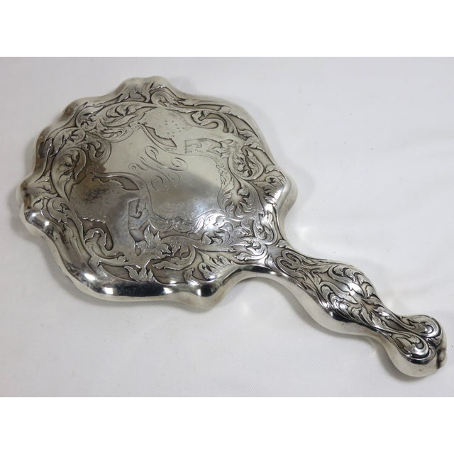 Antique Sterling Silver Hand Mirror For Sale - Image 10 of 10