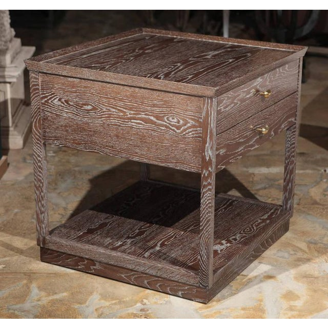 Paul Marra Ceruse Oak Two-Tier Nightstand - Side Tables with two drawers, lower shelf, brass handles. By order.