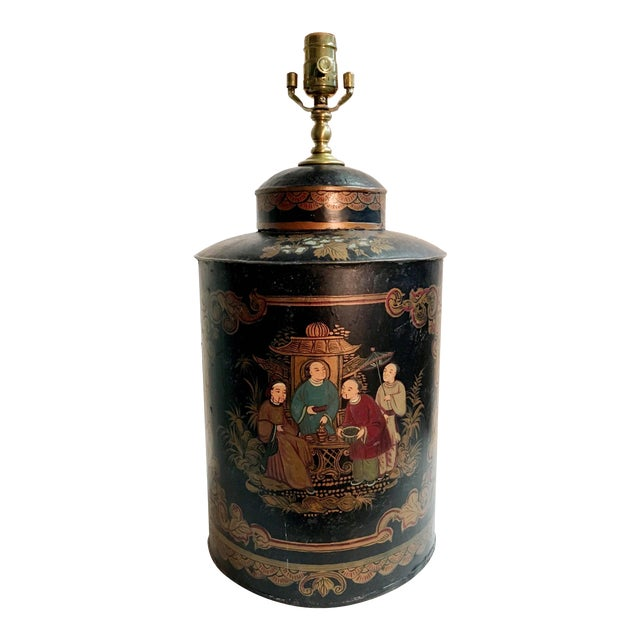Vintage Black Handpainted English Tea Caddy Lamp For Sale