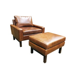 One for Victory Modern Leather Chair and Ottoman Set