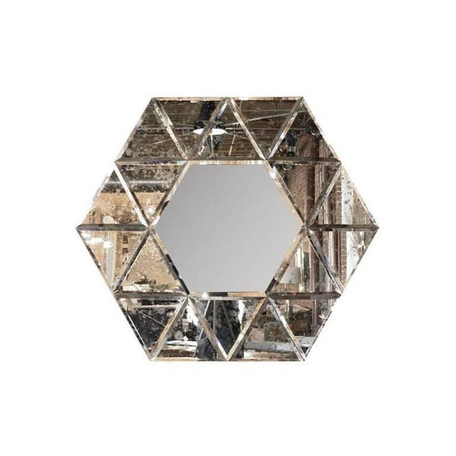 Silver Large Hexagonal Antiqued Mirror For Sale - Image 8 of 8