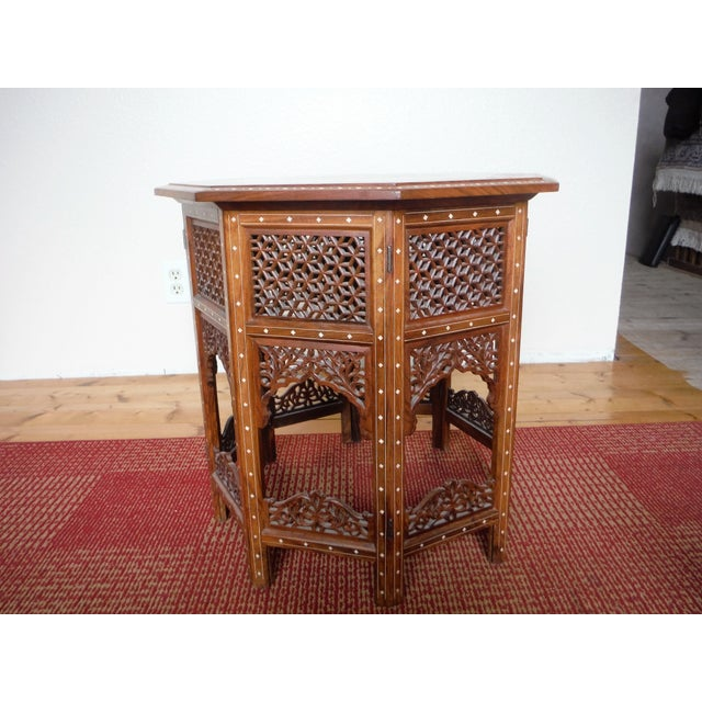 Arabic Style Carved and Inlayed Table For Sale - Image 4 of 9