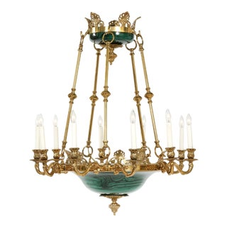 Mid 19th Century Empire Style Lacquered Metal / Gilt Bronze Chandelier For Sale