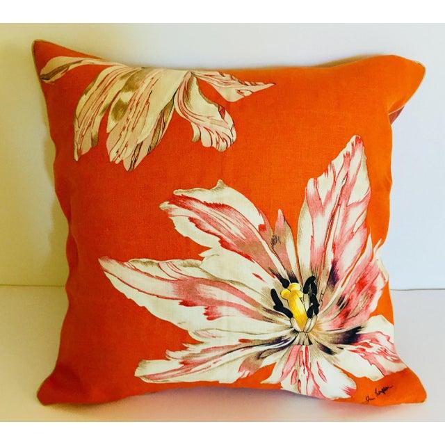 Orange Mid Century Jim Thompson Orange Designer Decorative Pillow With Lotus Flower Print For Sale - Image 8 of 10