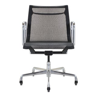 Aluminum Group Management Chair in Black Mesh by Charles & Ray Eames for Herman Miller For Sale