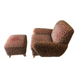 Contemporary Heywood-Wakefield 'Margaret' Chair & Ottoman - 2 Pieces For Sale