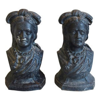 Antique French Iron Female Figures, Pair For Sale
