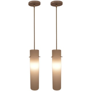 Pair of Plastic Cylinder Hanging Lights For Sale
