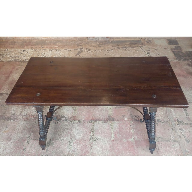 20th Century Spanish Revival Walnut Table With Iron Stretcher Bars For Sale - Image 4 of 12