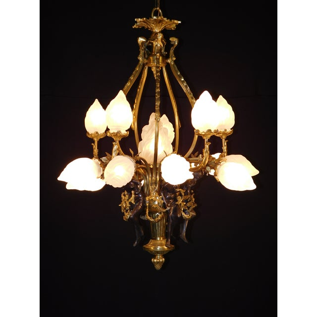 Gold Antique Bronze Maidens Flame Globe Chandelier For Sale - Image 8 of 13