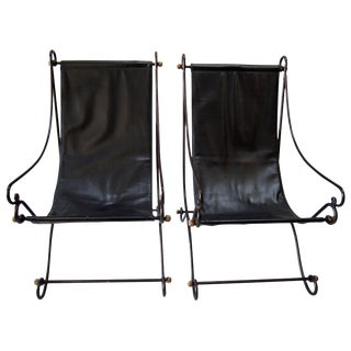 1970s Metal Sling Back Chairs - A Pair For Sale