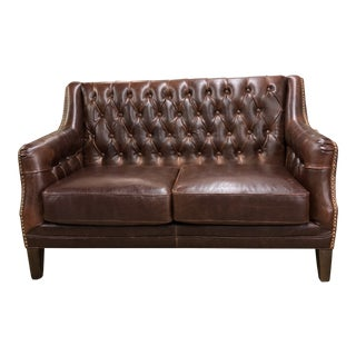 1960s Vintage Chesterfield Style Leather Tufted Loveseat For Sale