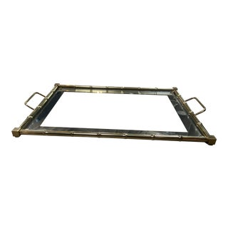 1960s Italian Mid-Century Brass, Glass and Mirror Large Tray For Sale