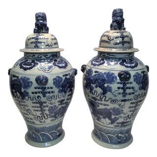 Handmade Blue & White Cantonese Ginger Jars - a Pair For Sale