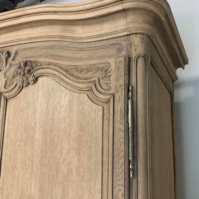 Wood 19th Century Country French Normandy Stripped Oak Armoire For Sale - Image 7 of 13