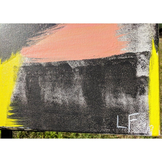2010s Original Abstract Neon Lime Salmon Pink and Black Painting For Sale - Image 5 of 13