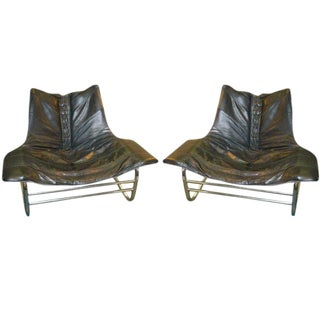 Pair of Corset Laced Leather & Chrome Lounge Chairs For Sale