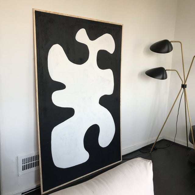 Black & White Oversized Abstract Painting - Image 3 of 9