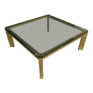 1980s Mid-Century Mastercraft Brass and Glass Coffee Table For Sale