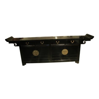 Chinese Black Lacquer Large Sideboard For Sale