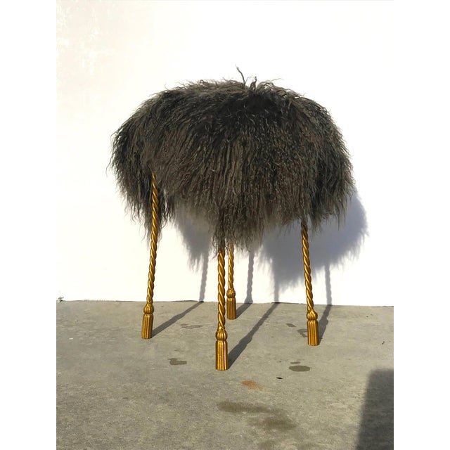 Hollywood Regency Mongolian Lamb & Gilded Metal Vanity Stool, 1970's For Sale - Image 4 of 13