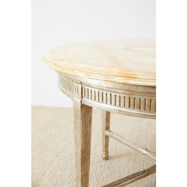White Neoclassical Style Silver Gilt Marble-Top Center Table For Sale - Image 8 of 13