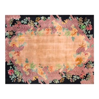 Antique Chinese Art Deco Rug-9′ × 11′8″ For Sale