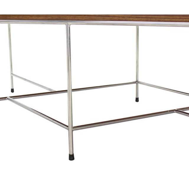 2010s Mid-Century Modern Z Base Stainless Base Wood Top Coffee Table For Sale - Image 5 of 10
