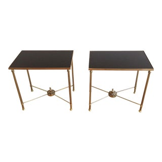 Mid Century Pair of Brass End Tables With Black Opaline Glass For Sale