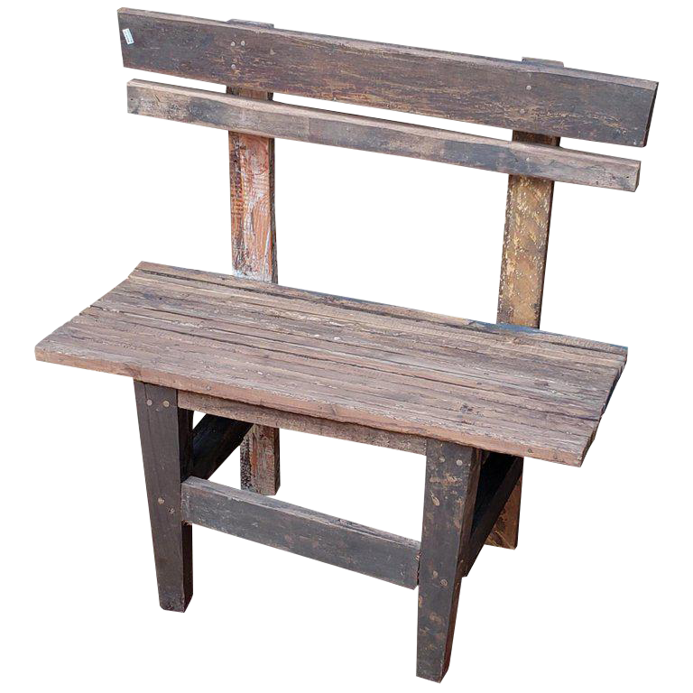 1980s Vintage Moroccan Handmade Old Wood Park Bench For Sale